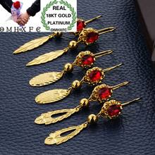OMHXFC Wholesale European Fashion Woman Girl Party Wedding Gift Gold Red Leaves AAA Zircon 18KT Gold Drop Earrings ER44(China)