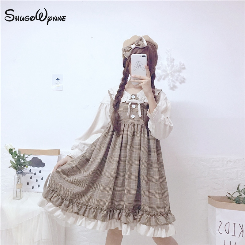 2019 Spring Women Mori Girl Sweet Bow Ruffles Fake Two Piece Stitching Lattice Long Sleeve Kawaii Lolita Dress Female Vestidos