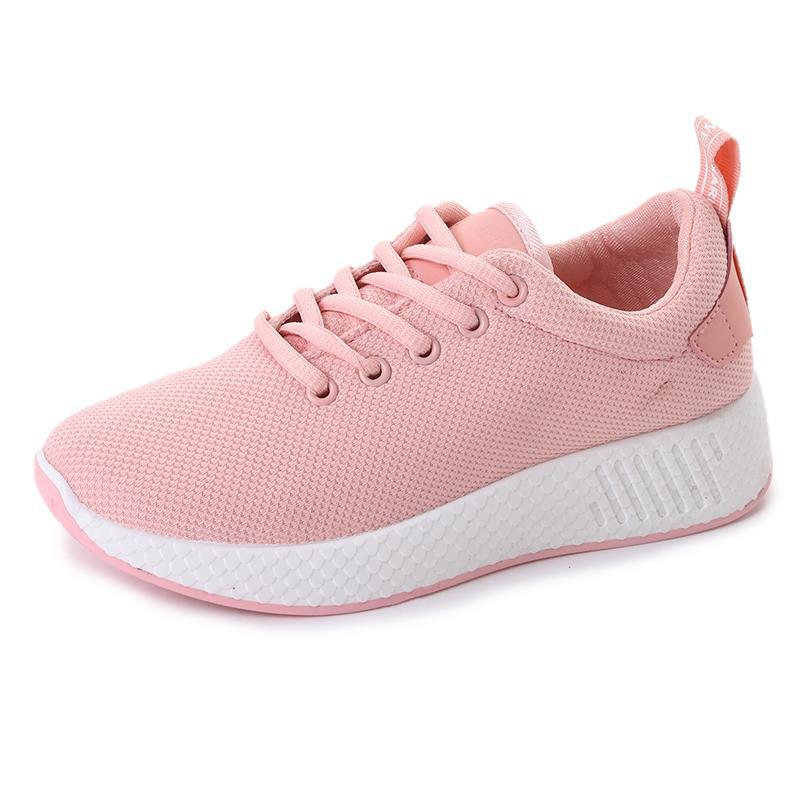 YeddaMavis Pink 4CM Platform Sneakers Women Shoes 2019 Spring Breathable Mesh Lace Up Flats Womens Woman Zapatos De Mujer