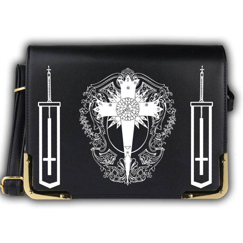 anime D.Gray-man D Gray Satchel Bag PU Lether Messenger Bag Black Women Shoulder Handbags