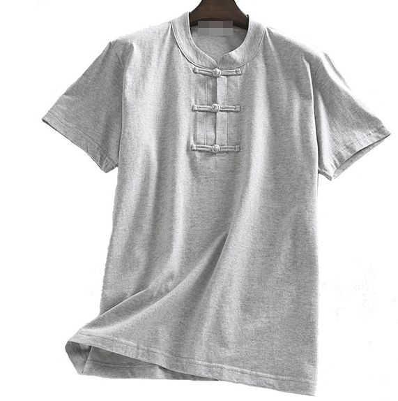 Unisex verano algodón manga corta tai chi taijiquan uniformes wushu trajes kung fu artes marciales camisas gris/rosa/ azul