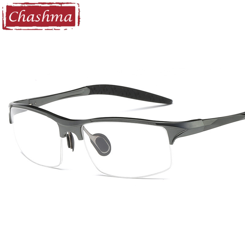 Prescription Glas Sport Style Men Eyeglass Aluminum Magnesium Frame Classic Design Fashion Semi Rimmed Spectacles Mens Width 145(China)