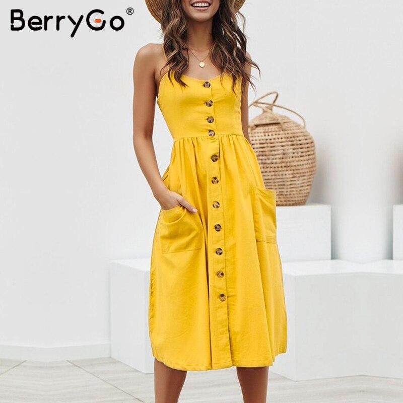 BerryGo Elegant buttons women dress Spaghetti strap dresses pockets polka dots dresses Summer casual female plus size vestidos