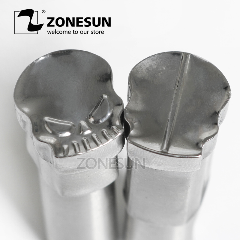 ZONESUN Skull Customized hand tablet mould Press Steel Hole Punch Die Tool Set Milk Logo For TDP0/1.5/3/5 Machine Free shipping stamp mould die set punch for the single punch tablet press machine free shipping