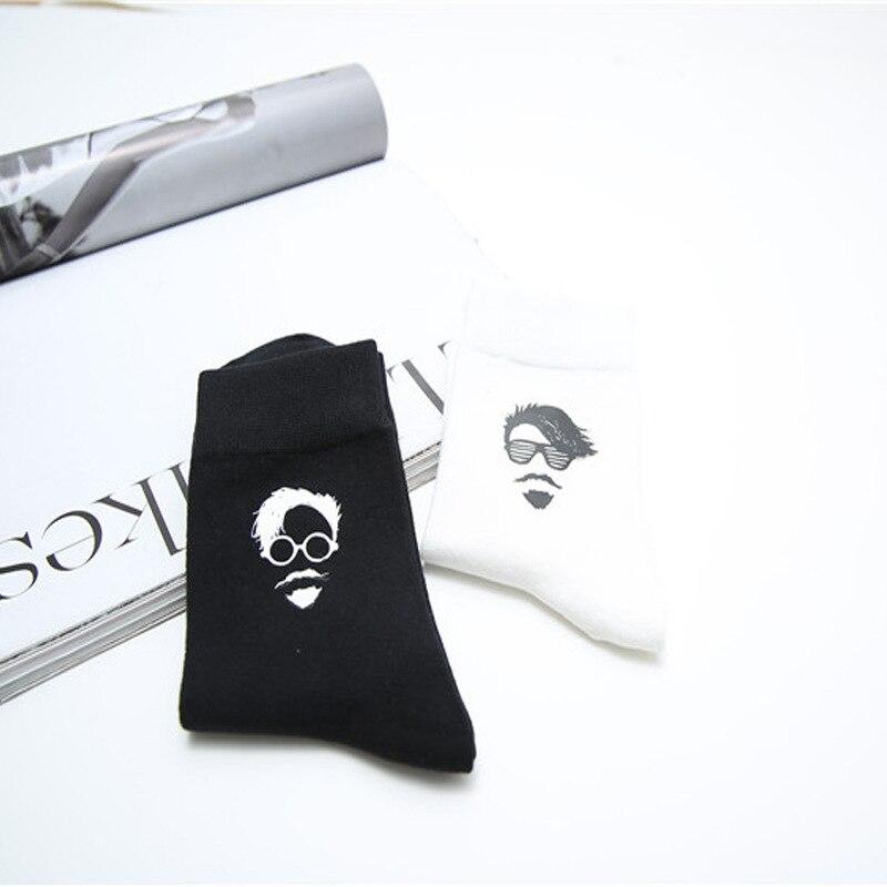 Fashion tide mens socks black white cotton 3d printed old man pattern socks Artist trend funny socks