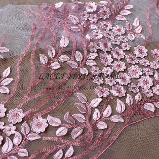 049f5c67b3c2 € 27.23 |Rosa/beige flores 3D en malla vestido bordado de lentejuelas tela  de encaje 1 yardas en encaje de Hogar y jardín en AliExpress.com | ...