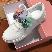 Hanbaidi Flower White Real Leather Loafers Women Round Toe Thick Bottom Casual Shoes Runway Gladiator Flats