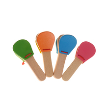 Brand New Creative Wooden Castanet Clapper Handle Musical Instrument Toy For Children Early Educational