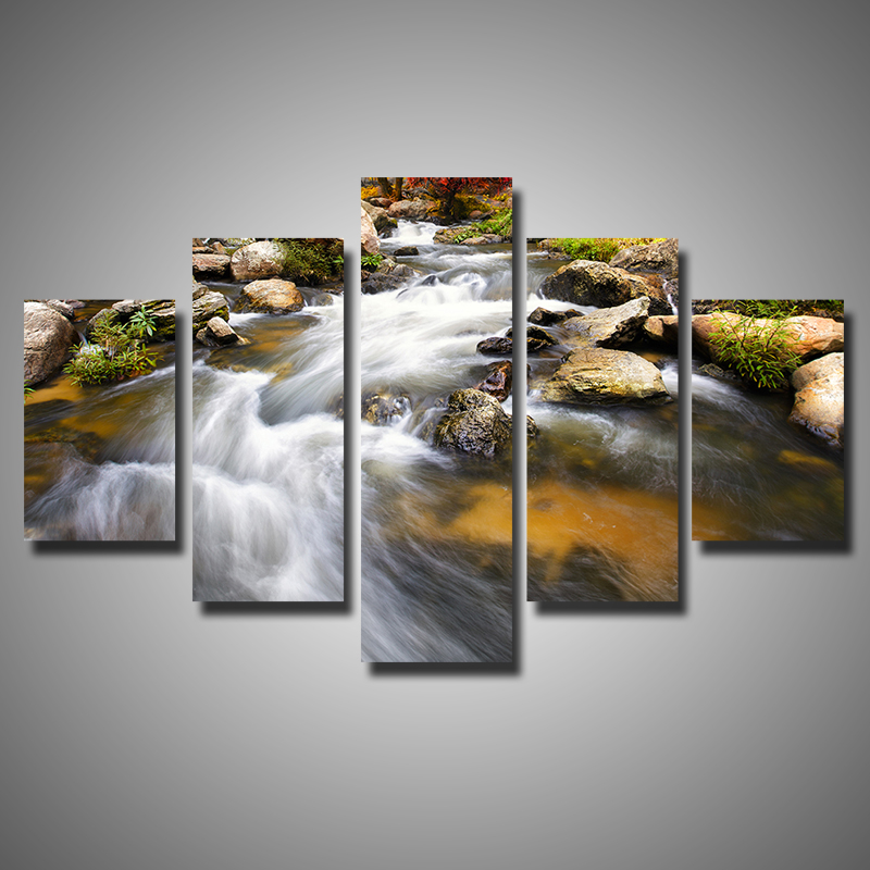 5 Pieces Multi Panel Canvas Wall Art Torrent Water Nature Scenery Paintings  For Living Room Wall
