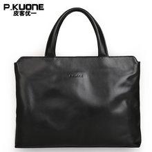 7dcfdedcc990 P. KUONE натуральная кожа мужской модный портфель высокое качество деловая  сумка на плечо Повседневная дорожная сумка люксовый б.