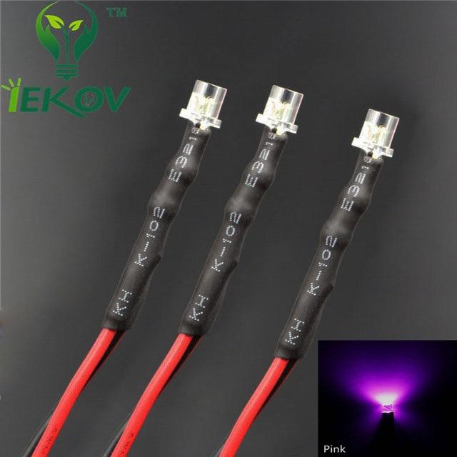 20pcs led 3mm led diode 12v pre wired resistor 12v dc flat. Black Bedroom Furniture Sets. Home Design Ideas