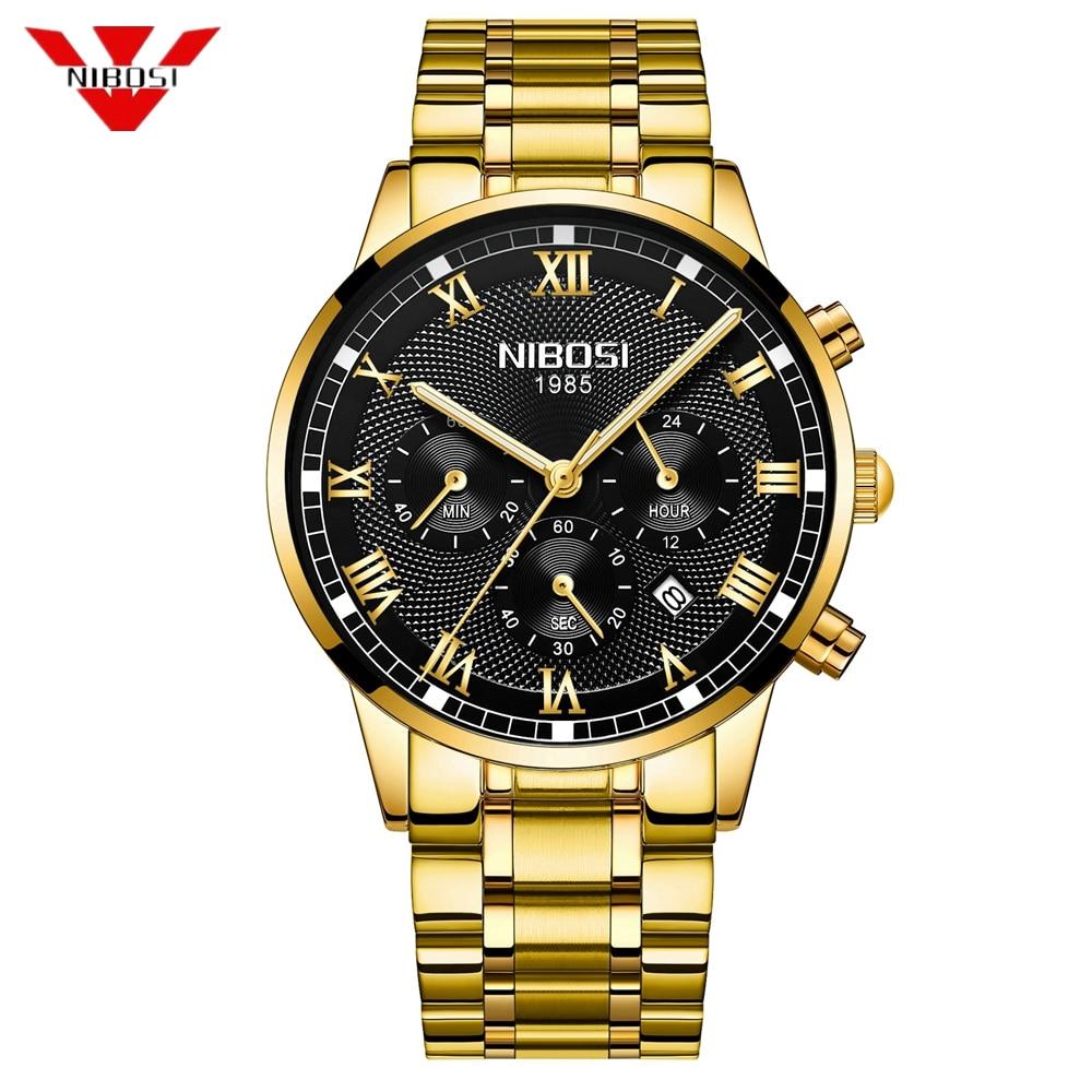 Nibosi hombre reloj de cuarzo de lujo de deporte de moda reloj de pulsera de acero inoxidable relojes hombre reloj Relogio Relojes Hombre