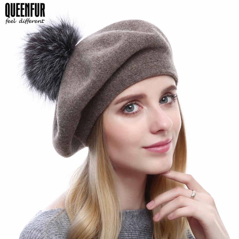 80d9dfe6879 QUEENFUR Womens Mink Fur Beret Hat Winter Knitted Mink Fur Beanies Caps  2017 Brand New Fashion Luxury Nature Causal Fur Hats