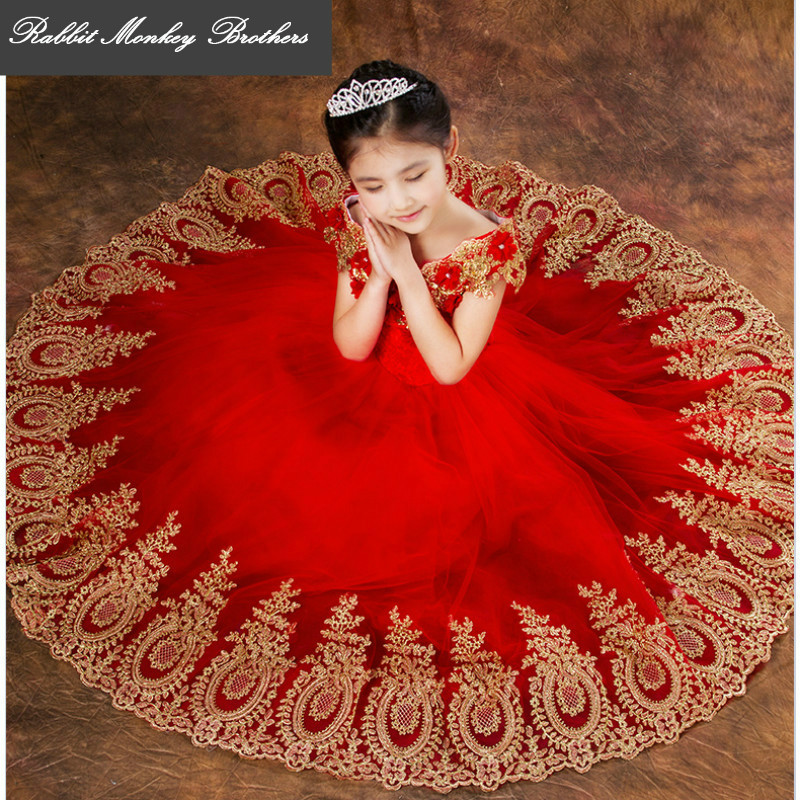 Children's dresses long Tutu performance clothing Flower Girl Dresses Wedding Party Dress Birthday evening Princess dresses