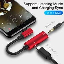 Cafele OTG Tipi C için 3.5mm AUX ve USB C Dişi Ses Adaptörü 2in1 Xiaomi 8 için Samsung S9 kulaklık jak adaptörü