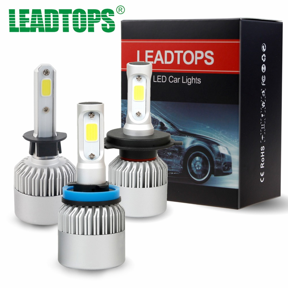 LEADTOPS H1 H4 <font><b>LED</b></font> H7 H11 9003 HB2 H3 H8 H9 COB S2 Auto Car Headlight 72W 8000LM High All In One Automobiles Lamp 6500K 12V EA