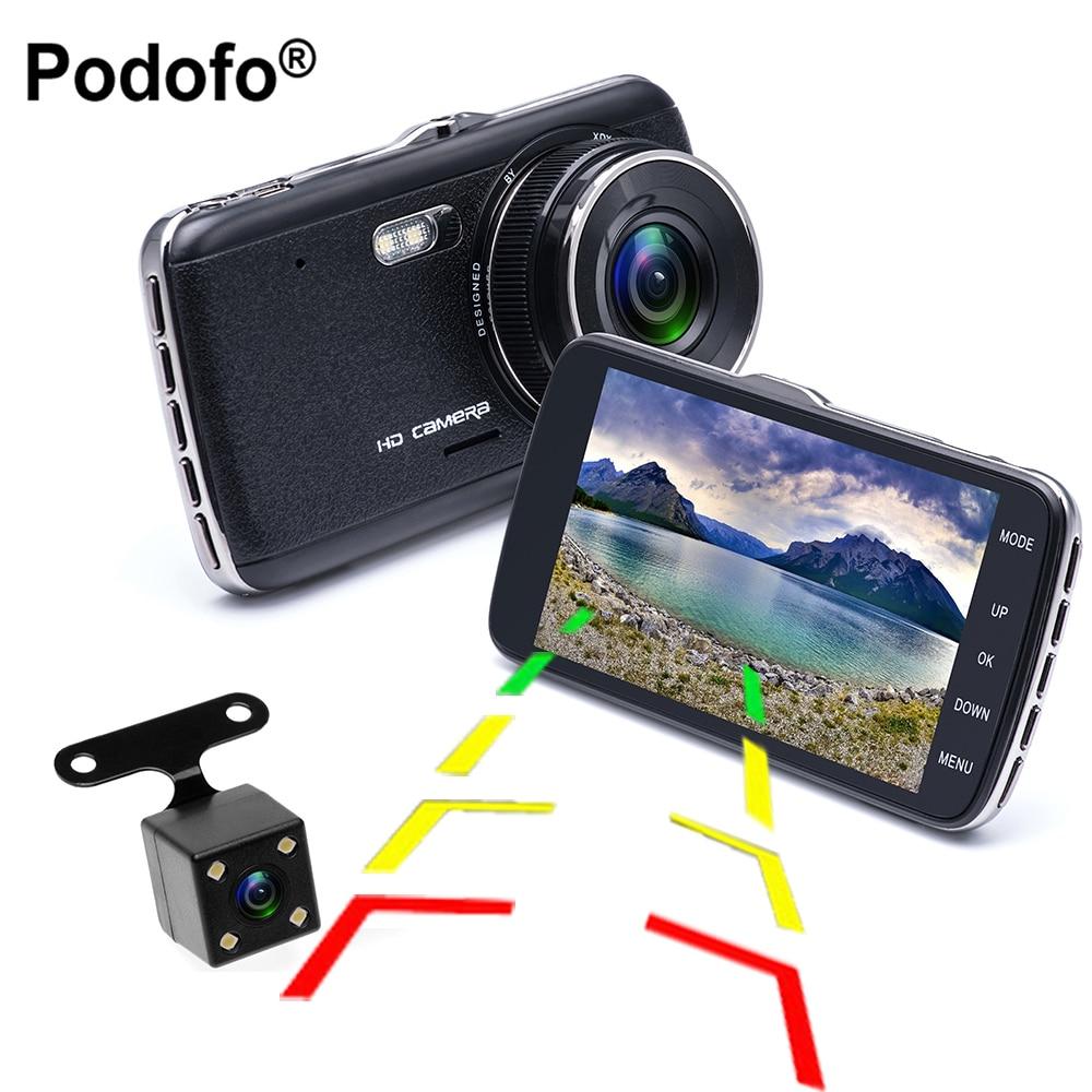 Podofo 4.0 IPS Dual Lens Car Dvrs Novatek 96658 Full HD 1080P Video Recorder Car Camera Dash Cam With Rear View Backup Camera podofo dual backup camera