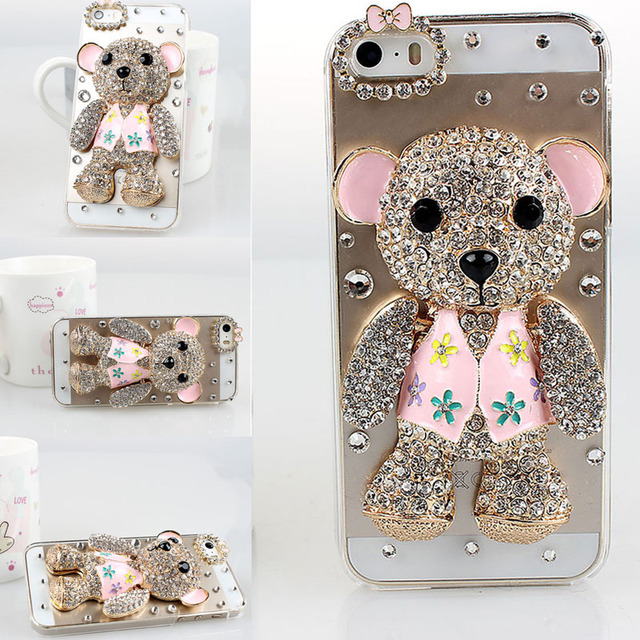 best service 7dfdc 57974 US $11.59 |Full Diamond Teddy Bear Cell Phone Cover Case for Apple Iphone 5  5s 3D Bumper DIY Luxury Rhinestone Fashion Original Gift Bling on ...