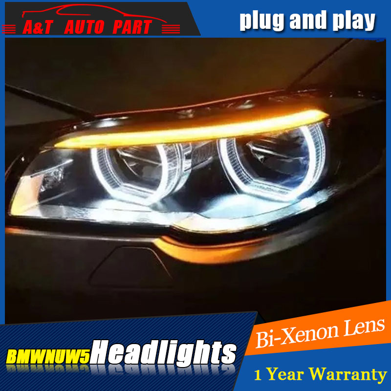 Auto part Style LED Head Lamp for BMW 5 series led headlights for 520Li 525Li drl H7 hid Bi-Xenon Lens angel eye low beam auto clud style led head lamp for nissan teana 2013 2016 led headlights signal led drl hid bi xenon lens low beam
