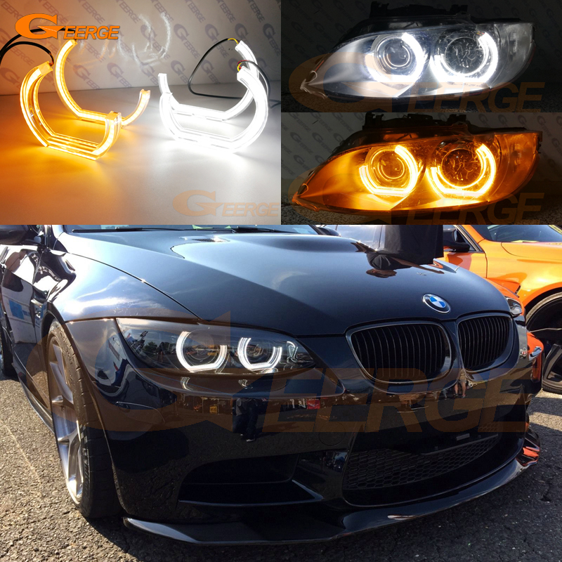 For BMW 3 Series E90 E92 E93 M3 Coupe and cabriolet 2007-2013 DTM M4 Style LED Angel Eye Kit Dual White Amber switchback велосипед mongoose switchback sport 2013