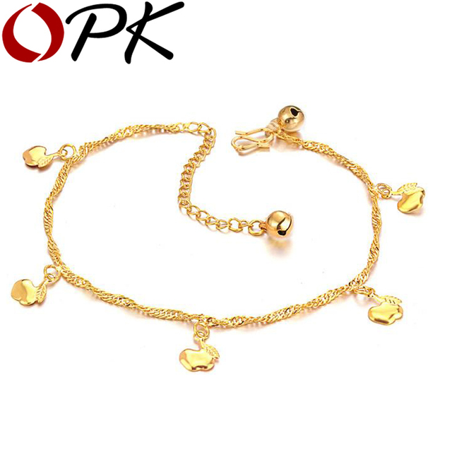 OPK gold plated anklet Hot Fashion Body Jewelry Free shipping Anklet 1PCs for retailer Adjust Length For Anklet 718