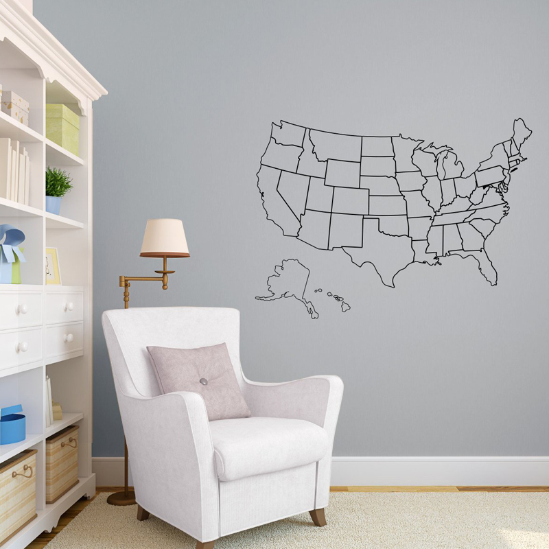 Outlined United States Map with Optional Fill in - Wall Decal Custom Vinyl Art Stickers for Schools, Libraries C-25