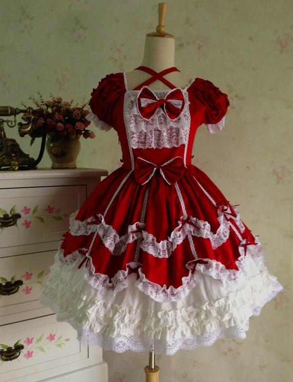 Princesse Lolita Costume Vintage gothique dentelle palais Cosplay robes de bal manches courtes multicouche princesse Lolita robe personnalisée
