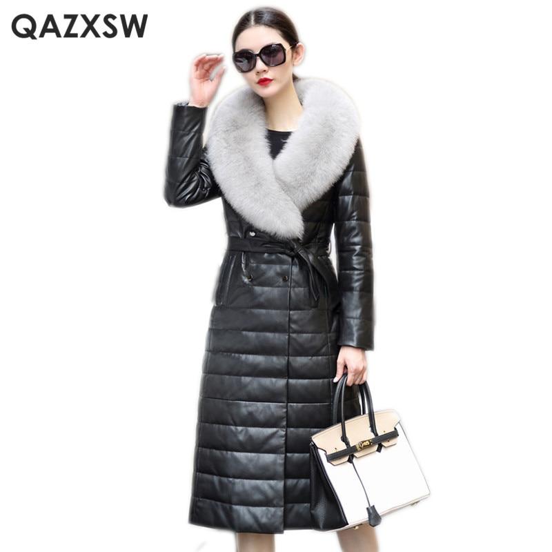 QAZXSW Genuine Leather Jacket 2019 New Winter Women Fox Fur Collar Long Jacket Plus Size Overcoat Leather Sheepskin Coat LH1275