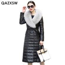 QAZXSW Genuine Leather Jacket 2017 New Winter Women Fox Fur Collar Long Jacket Plus Size Overcoat Leather Sheepskin Coat LH1275