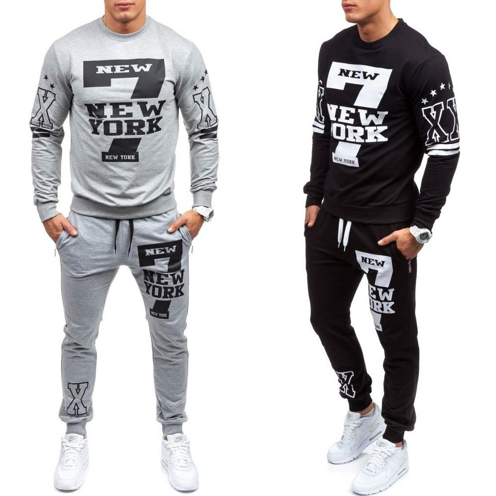 Men Tracksuits Casual Sport Suit Set Fashion Letter Printing Sweatsuit For Clothes 2018 Gym Running