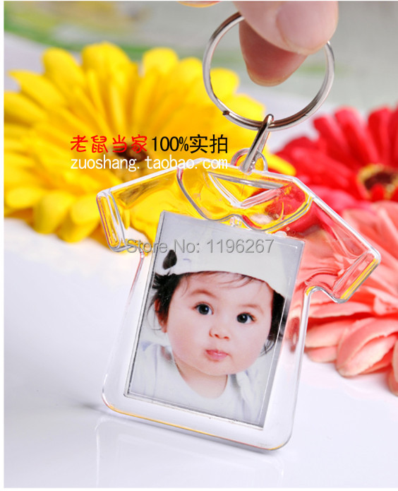 24PCS Baby shower favors kids birthday party decoration souvenirs Clear acrylic mini photo frame keychain diy ceative gift