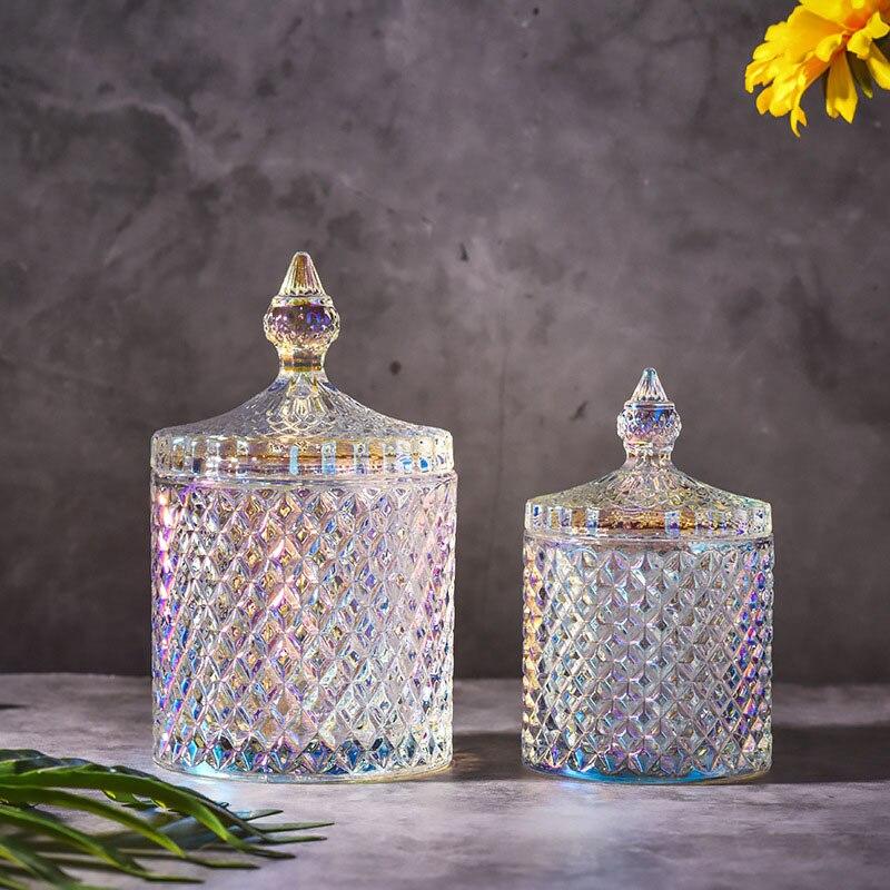 1PCS European Crystal Glass Bottle Storage Jars Sugar Cans Diamond Candy Cotton Swabs Pad Box Home Decoration Kitchen Accessorie