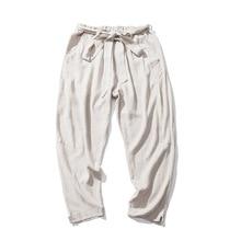 2018 New Fashion Big Size 4XL 5XL Summer Cotton Loose Sweatpants Men Belt Jogger Pants