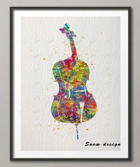 DIY Original Watercolor Violin Cello Wall Art Canvas Painting Musical Instrument Poster Prints Living Room Decoration