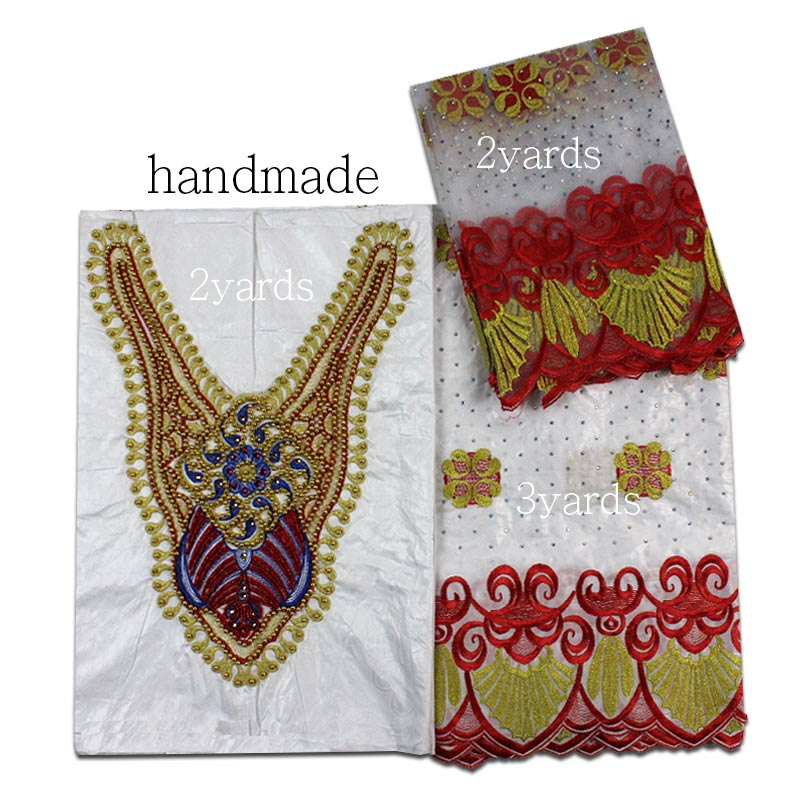 2018 Newest handmade Bazin Riche lace fabric withe+red noble Bazin Riche African net lace embroidery with bead for party dress2018 Newest handmade Bazin Riche lace fabric withe+red noble Bazin Riche African net lace embroidery with bead for party dress