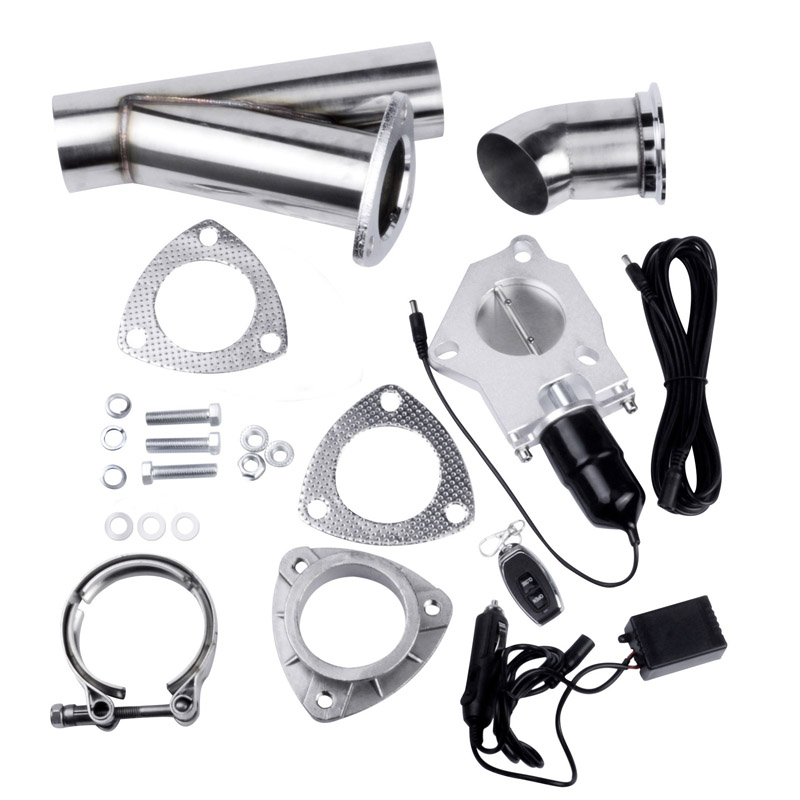 2 25 Inch Electric Exhaust Cutout Kit Exhaust Cut Out Vavle Stainless Steel Header Y Pipe