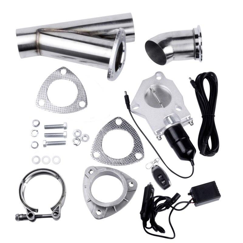 Kit de découpe d'échappement électrique de 2.25 pouces Vavle d'échappement + tuyau en acier inoxydable Y + télécommande + tuyau de récupération