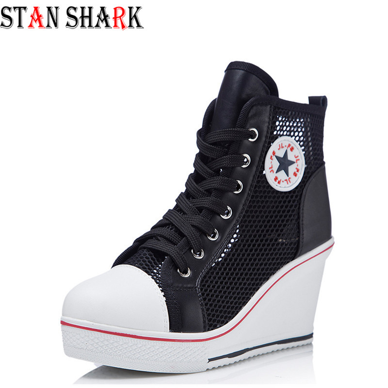 2019 New Summer Women's Wedge Mesh Casual Shoes Fashion Wedges Shoes Black White Pink Breathable High-top Sneakers Shoes