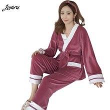 8a83eed3d45d3 Nuevo invierno conjuntos de pijama para Mujer manga larga Top + Pantalones  2 piezas conjuntos de pijama ropa de dormir chica cue.