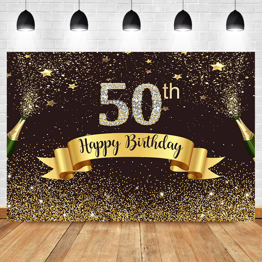 Neoback Happy 50th Birthday Backdrop Gold Glitter Bokeh