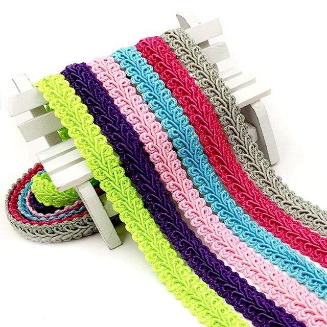 Tela de cinta trenzada Ciempiés de encaje de algodón curvo de 5 metros de 12mm, accesorios para ropa DIY hecha a mano, artículos de costura artesanal