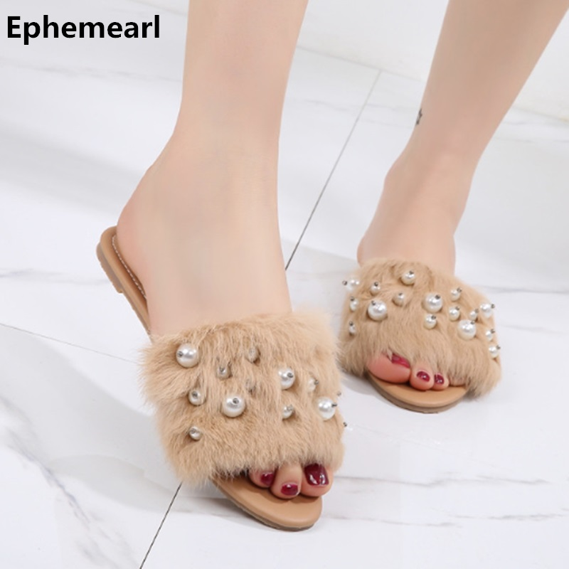 Women Diamond Rabbit Hairs Slippers Open Toe Flats Slides Summer Beach Shoes  Outdoor Plus Size 34 05e9d9009e26