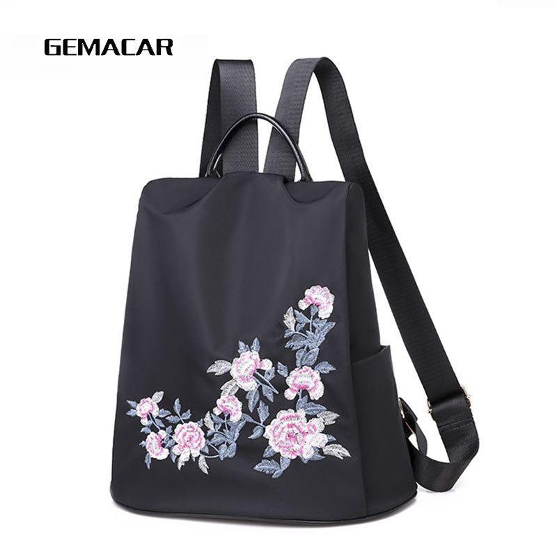 Casual Ladies Backpack Embroidery With Flowers Simple Women Anti-theft Bag Black Large Capacity Oxford Cloth Backpack Anti-dirty