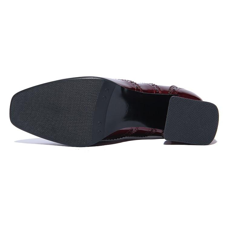 Tacón Bombas Alto Las Profunda Cuero Pie Mujer Tinto Negro {zorssar} Del Zapatos Cuadrado Dedo Vestir Mujeres vino Boca De ESwE8Bqn6O