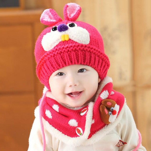 7614d4683c211 Baby Hat With Scarf Toddler Winter Beanie Warm Hat Hooded Scarf Earflap  Knitted Cap Cute Cartoon Kids Hat Scarf Set