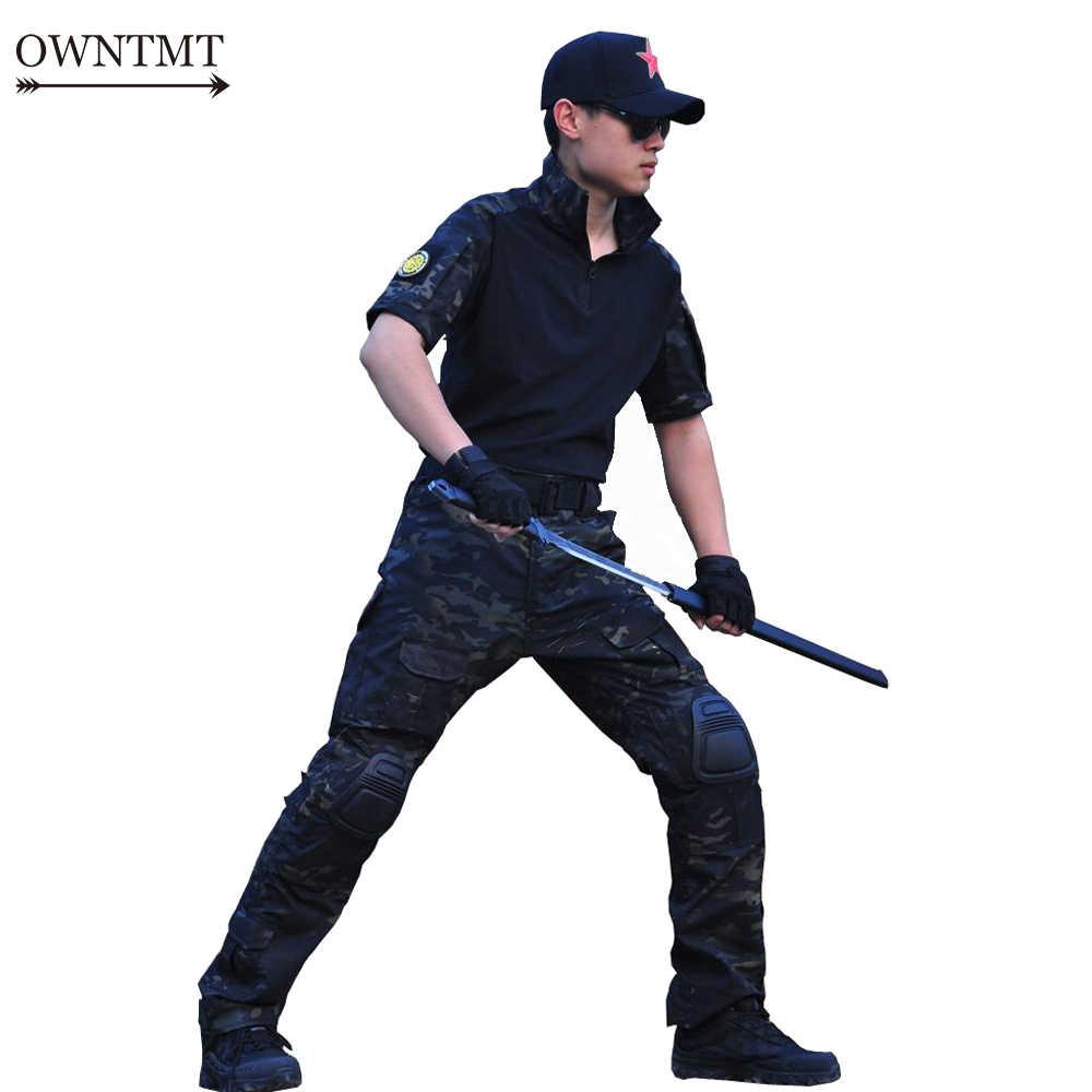 Musim Panas Tentara Militer Seragam Kamuflase Taktis Combat Suit Bdu Airsoft Permainan Perang Pakaian Outdoor Pendek Kemeja + Celana Lutut Pad