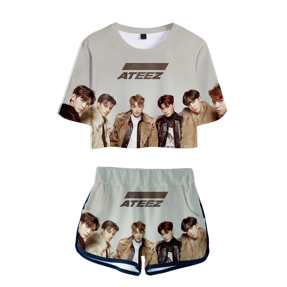 2019 New arrival Ateez T-Shirts Women Short Sleeve 3D Printed Shirts and Shorts Sets Idol Fashion Girls Tee Moletom Summer Sets