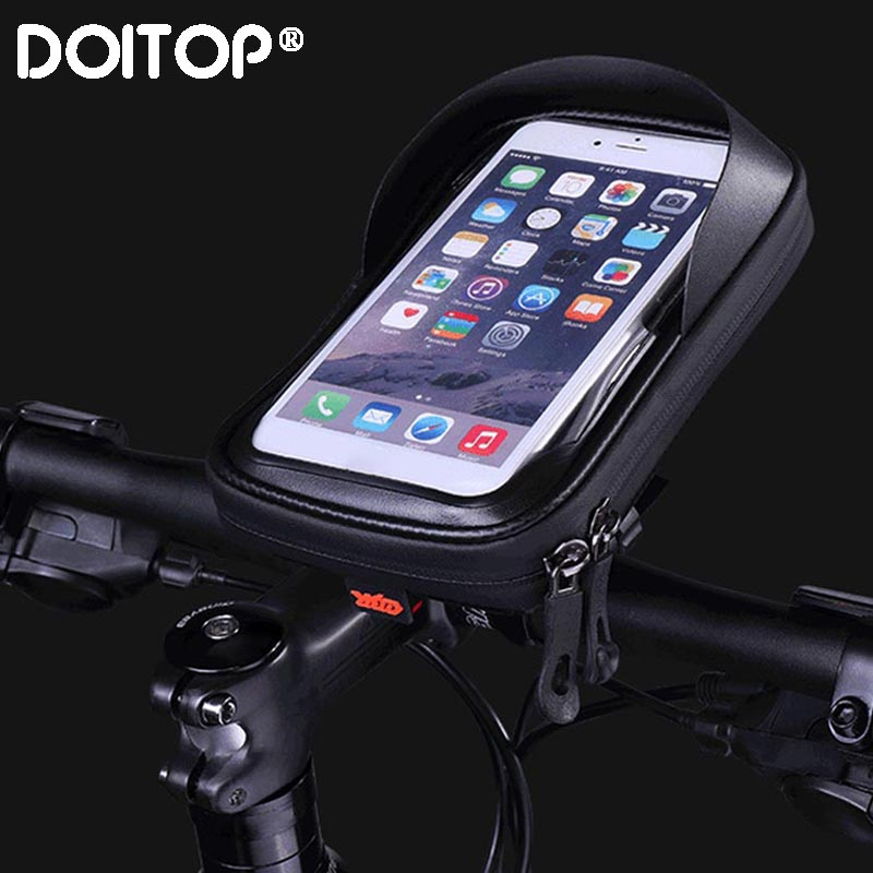 DOITOP 6.0 Inch Waterproof Bike Bicycle Mobile Phone Holder Stand Motorcycle Handlebar Mount Bag For Iphone X Samsung Lg Huawei