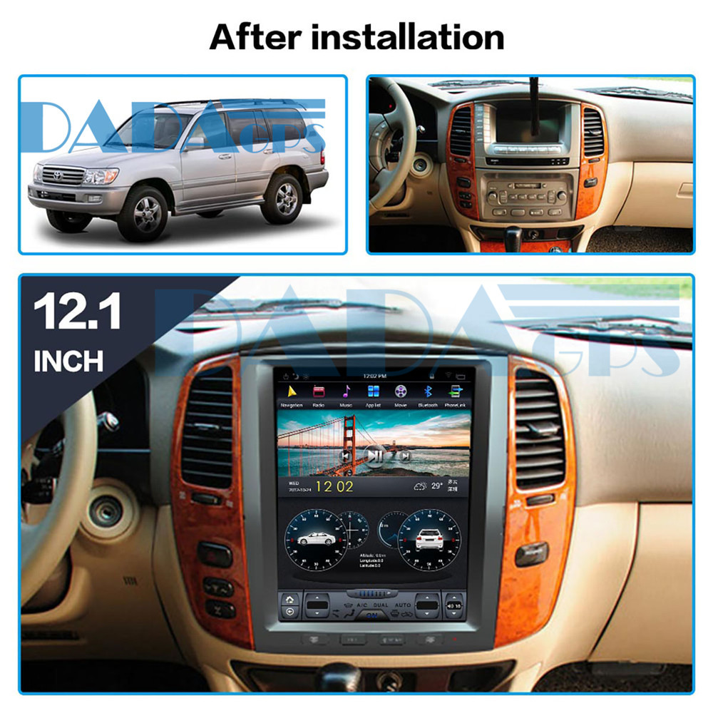 For TOYOTA LAND CRUISER LC100 2003-2007 Tesla Android Car GPS Navigation DVD multimedia radio tape recorder auto Stereo image