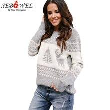01b7ad5148a3 SEBOWEL mujer árbol de Navidad feo suéter de punto suéteres de otoño e  invierno 2019 ciervos patrón de suéter de Navidad para mu.